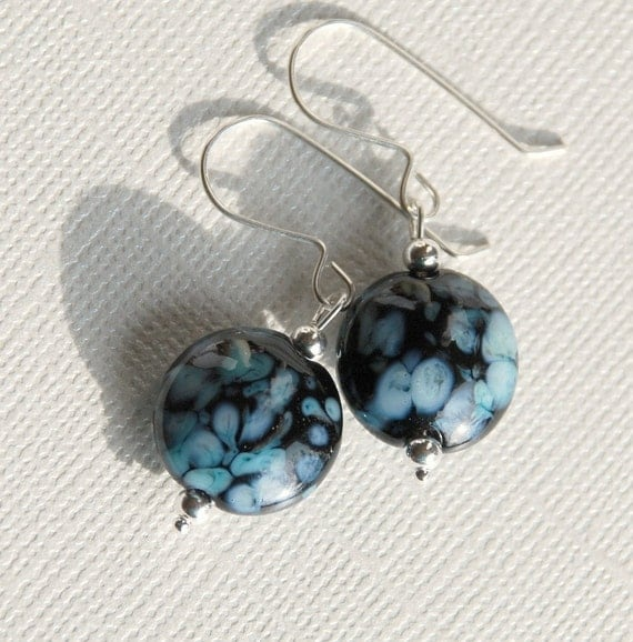 Glass Earrings - blue and black lampwork lentils
