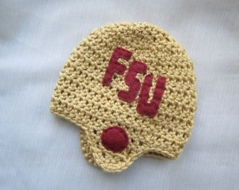 Florida State University Football Hat - Seminole Football Hat - FSU baby - football baby - Football Hat - FSU hat - Seminole baby - crochet
