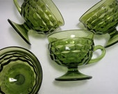 Vintage Punch Cups Green Indiana Glass Whitehall Pattern
