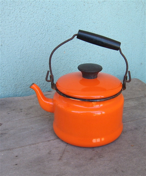 Vintage Enamelware Tea Kettle Bright Orange