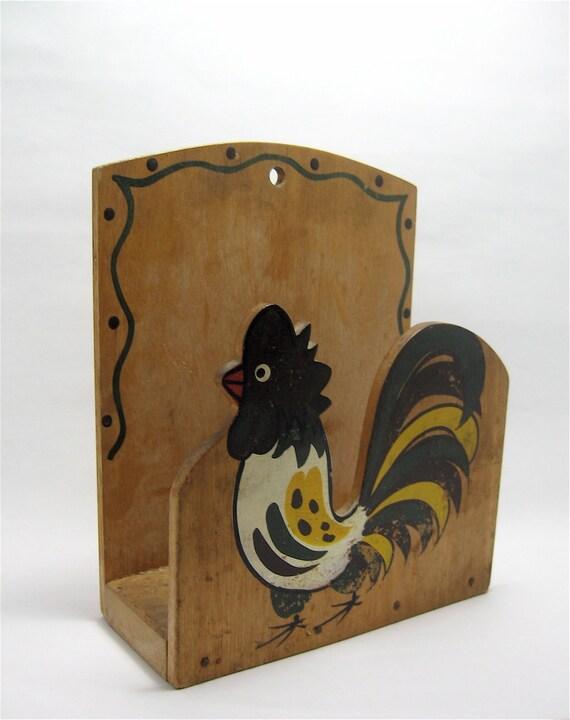 Rooster Wooden Napkin Holder