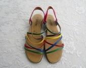 Vintage Strappy Rainbow Sandal Flats, Women's Size 9