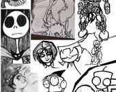 Custom Handmade Art Comics & Cartoons, Abstract Disney Invader Zim Nightmare Before Christmas Anime Television Fullmetal Goth Steampunk