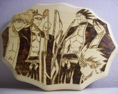 Bleach-Sexy Soul Reapers-Wood Burn Pyrography OOAK Anime Japanese