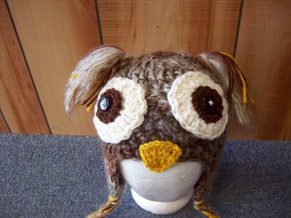 Raptor Owl Chunky Animal Hat-Custom You Choose Your Size Black Grey Brown Cute Adorable Bear