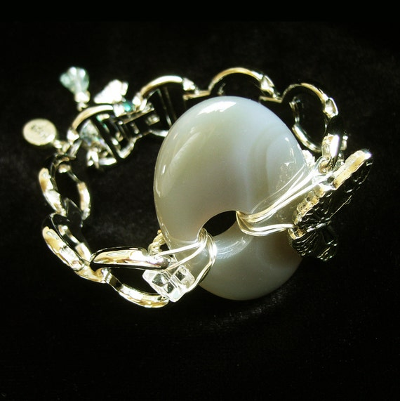 Agate Butterfly Recycled Watch Band Bracelet