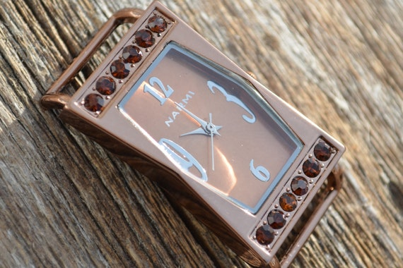 Watch Face for Beaded Double Stranded Interchangeable Watch Bands. Copper Solid Bar Crystal Round Square.