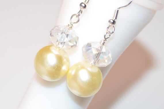 Womens Earrings Beaded Yellow Glass Pearls Crystals Silver plated hook. Matching Bracelets. Perfect for Bridesmaids Weddings.