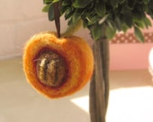 Needle Felted Peach Ornament
