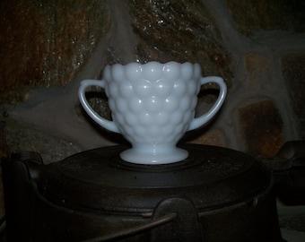 Milkglass Hobnail Sugar Bowl from 60ies