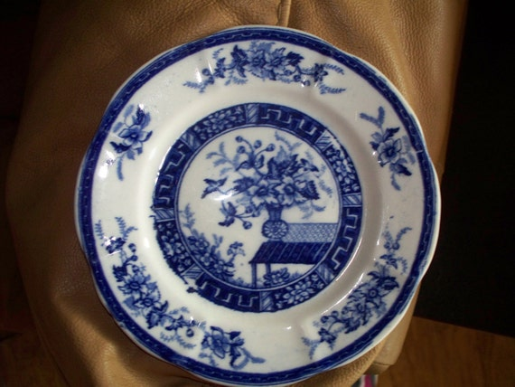 Decorative blue and white floral plate