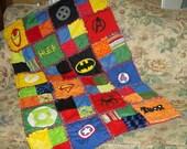 Custom Made Superhero Super Hero Comic Cotton and Minky Chenille Applique Lap Size Rag Quilt Blanket