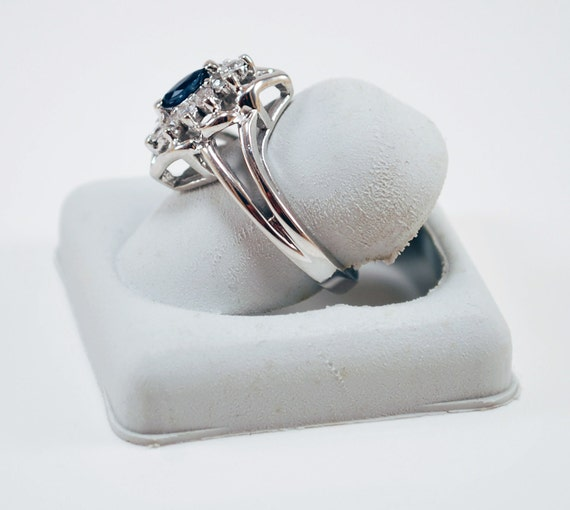 genuine marquise sapphire ring in sterling silver