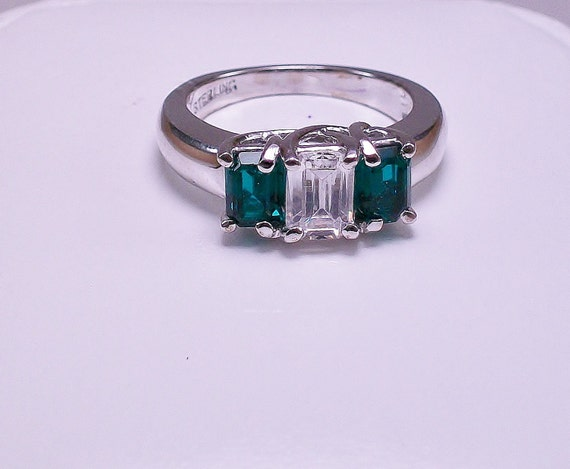 sterling silver with lab created emerald and cubic zirconium ring