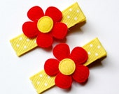 Red and Yellow Felt Flower Hair Clips Set of 2 - great for pigtails,Girl, Baby, Toddler, Children clippies