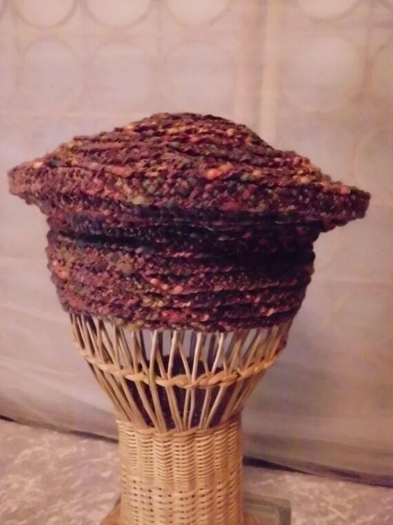 Vintage Womens Tweed Beatnik  Braided Hat  Beret   Chapeau  Paris  Modes Nita  Tam  Costume