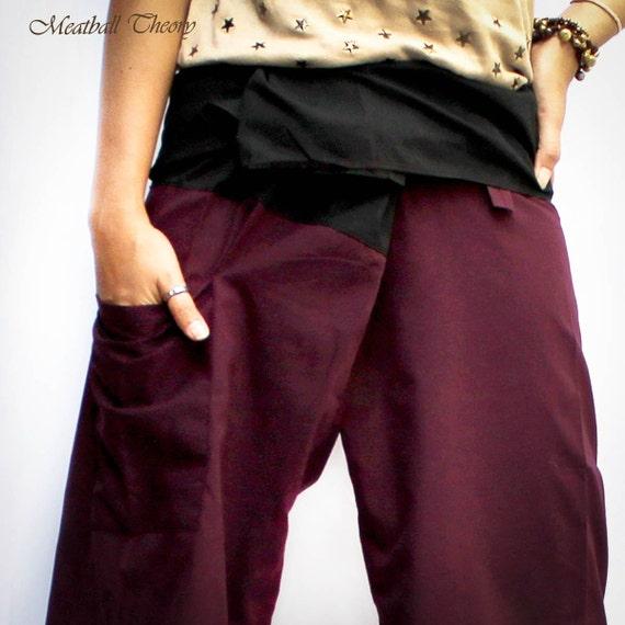 maroon and  black thai fisherman pants 2 tone L