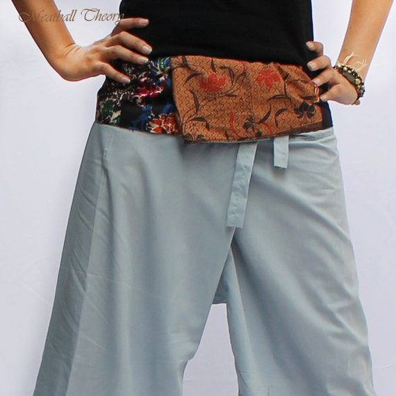 Unique patchwork Thai batik cotton on waist and light gray Thai  Fisherman Capri Pants,size S-XL,yoga pants,unisex pants.