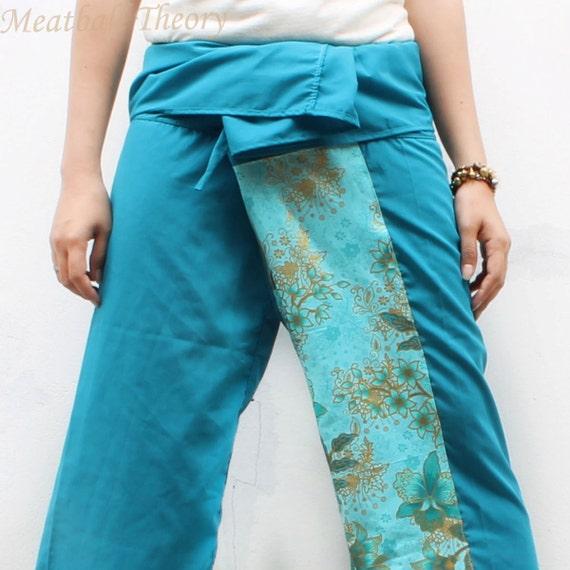 unique blue and gold floral sarong on font and blue Cotton Thai Fisherman Pants,size S-XL,unisex pants