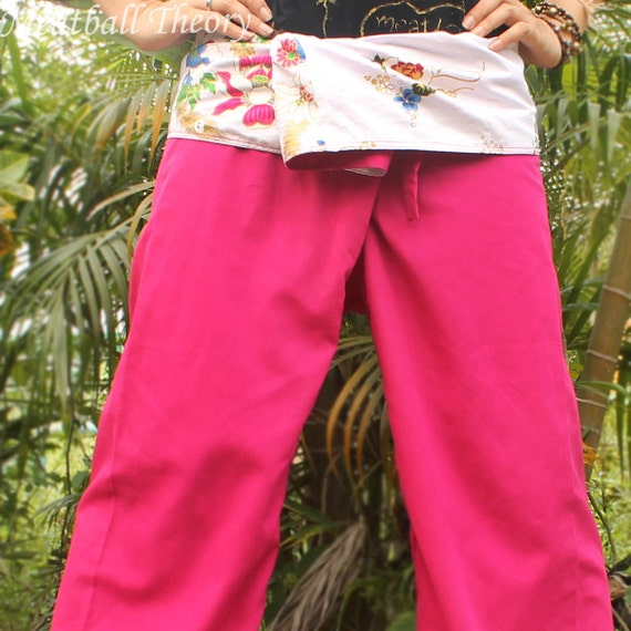 white floral and sweet pink cotton thai fisherman capri pants 2 tone