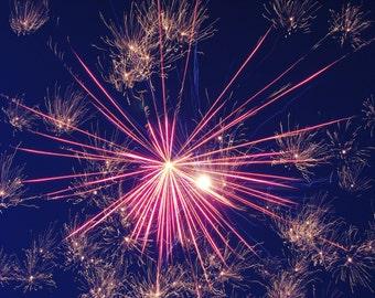 Fine Art Photography, Fireworks Photo, 11 X 14 Print Pink Burst