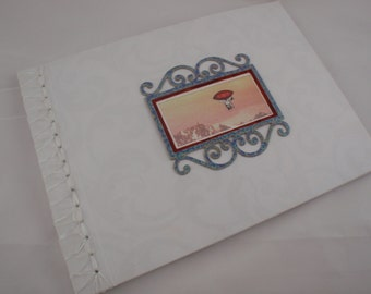 Custom and Personalized Wedding Guest Book with White Ribbon Stab Binding