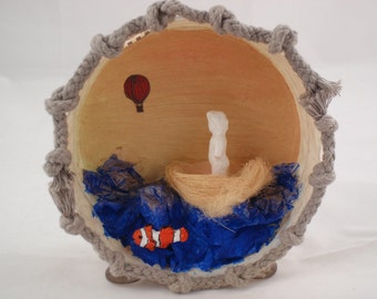 Journey Sculptural Shadow Box with Found and Made Objects