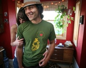Mens heart thinking heart t shirt- american apparel olive green- available s,m,l,xl, xxl- Worldwide shipping