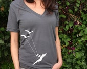Unisex Deep V Neck Flying bird swing-, american apparel t shirt, XXS -L 5 colors- WorldWide Shipping