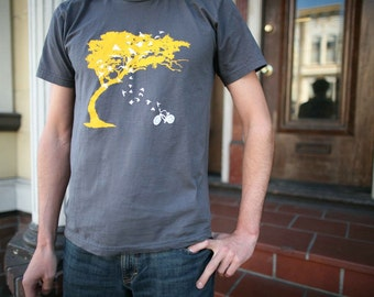 Mens birds bicycle and tree t shirt- american apparel asphalt gray- available in S, M, L and XL, XXL- Worldwide Shipping