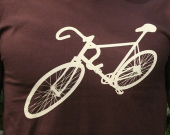 Mens bike bicycle t shirt,  american apparel brown available sizes- s, m, l, xl, xxl- WorldWide Shipping