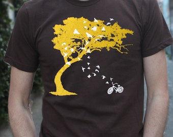 Mens birds bicycle and tree t shirt- american apparel chocolate brown- available in s,m, l, xl, xxl- Worldwide Shipping