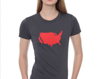 California t shirt - women's fitted american apparel- grey- available in s, m, l, xl- wprldwide shipping