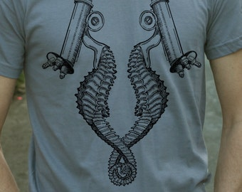 seahorse microscope on mens t shirt- american apparel slate gray, available in s,m, l, xl, WorldWide Shipping