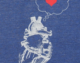 Womens heart thinking heart- american apparel tri blend indigo track t shirt - available in S, M, L , XL WorldWide Shipping