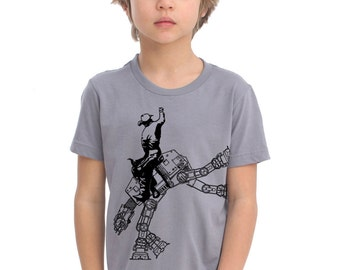 star wars AT AT cowboy on boys kids childrens t shirt- american apparel slate,  2, 4, 6, 8, 10,12 year old sizes -WorldWide Shipping