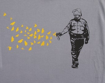 Mens Pepper Spray Cop -butterflies birds on mens t shirt- american apparel slate gray, available in S,M, L ,XL, XXL- WorldWide shipping