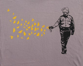 Mens Pepper Spray Cop -butterflies birds on organic t shirt- american apparel cinder, available in s, m, l, xl, xxl- WorldWide shipping