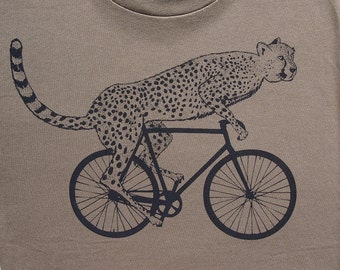 Mens cheetah on a bike t shirt -American Apparel army green - s, m, l, xl, xxl- Worldwide Shipping