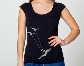 Womens flying bird swing on womans wide neck shirt, capped sleeves, American Apparel black, available in s,m,l,xl- Worldwide Shipping