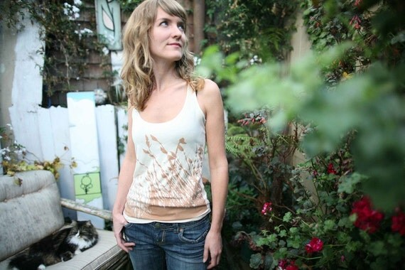 Womens grass nature print racerback tank top- ivory- available in S, M - WORLDWIDE SHIPPING
