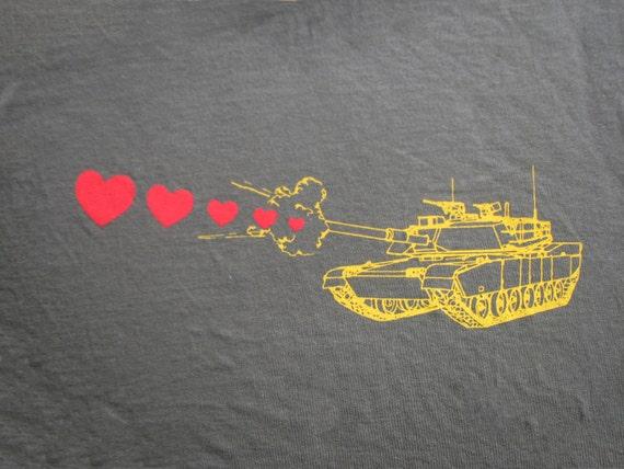 Mens tank shooting hearts- American Apparel Army- Size S, M, L,XL,XXL- WorldWide Shipping