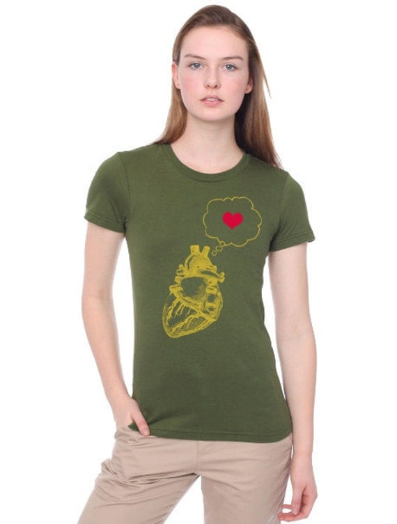 heart thinking heart -womens t shirt- american apparel- olive green- available s,m, l, xl - Worldwide Shipping