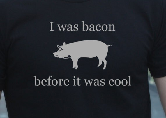 Mens bacon funny t shirt-  american apparel black- available in s, m, l, xl, xxl - WorldWide Shipping
