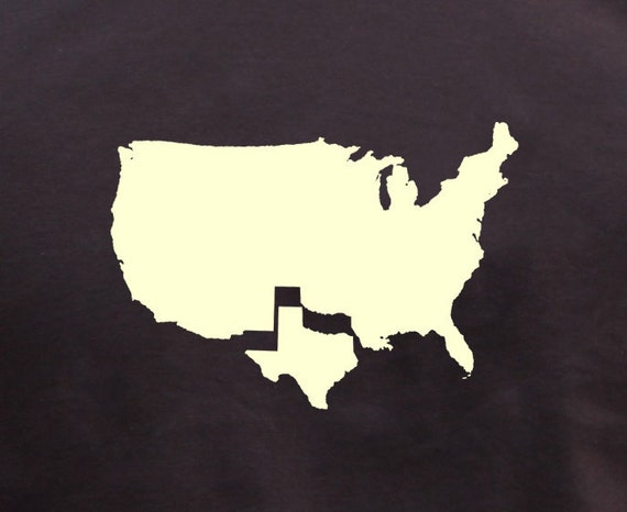 Mens Texas t shirt- american apparel chocolate brown- available in s, m, l, xl, xxl- WorldWide Shipping