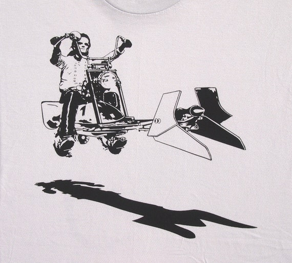 Star Wars easy rider speeder bike on mens t shirt- american apparel silver, available in S,M, L ,XL, XXL- WorldWide shipping