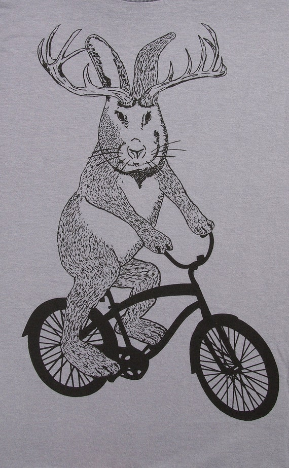 Jackalope on a bike t shirt- american apparel slate gray- sizes S, M, L and XL- WorldWide Shipping