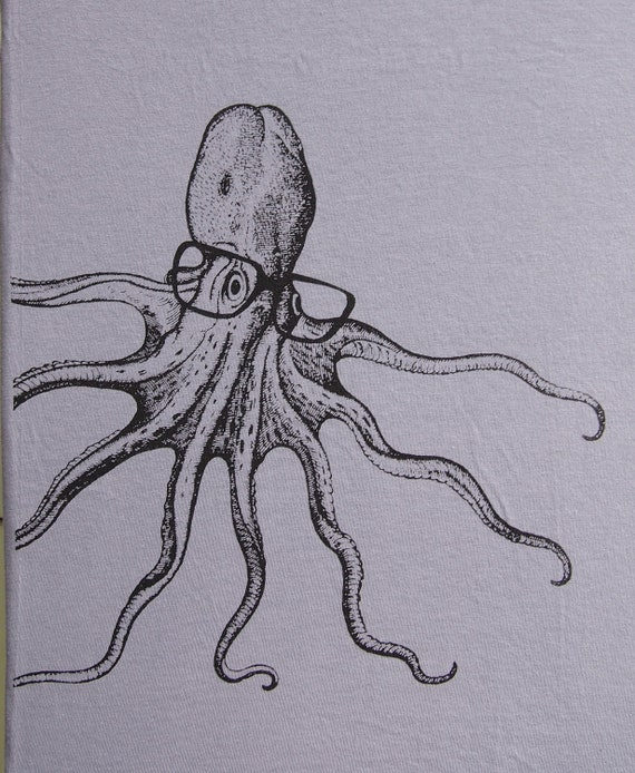 Mens Octopus wearing glasses- american apparel slate gray t shirt, available in S,M, L ,XL, XXL- WorldWide shipping