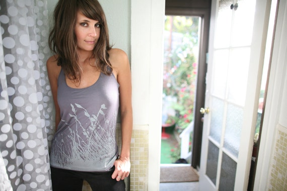womens racerback tank top, grass nature print- American Apparel asphalt gray- available in xxs ,xs ,s, m- WORLDWIDE SHIPPING