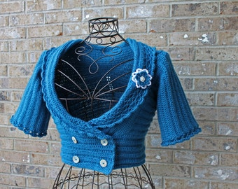 Blue 4-Button Fashion Bolero Jacket